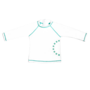 WHITE/ TURQUOISE LONG-SLEEVED SWIMMING TOP 6-12 MONTHS