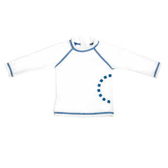 WHITE/ BLUE LONG-SLEEVED SWIMMING TOP 1-5 YEARS