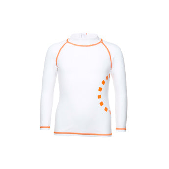 WHITE/ ORANGE LONG-SLEEVED SUN PROTECTION SWIMMING TOP 2-5 YEARS