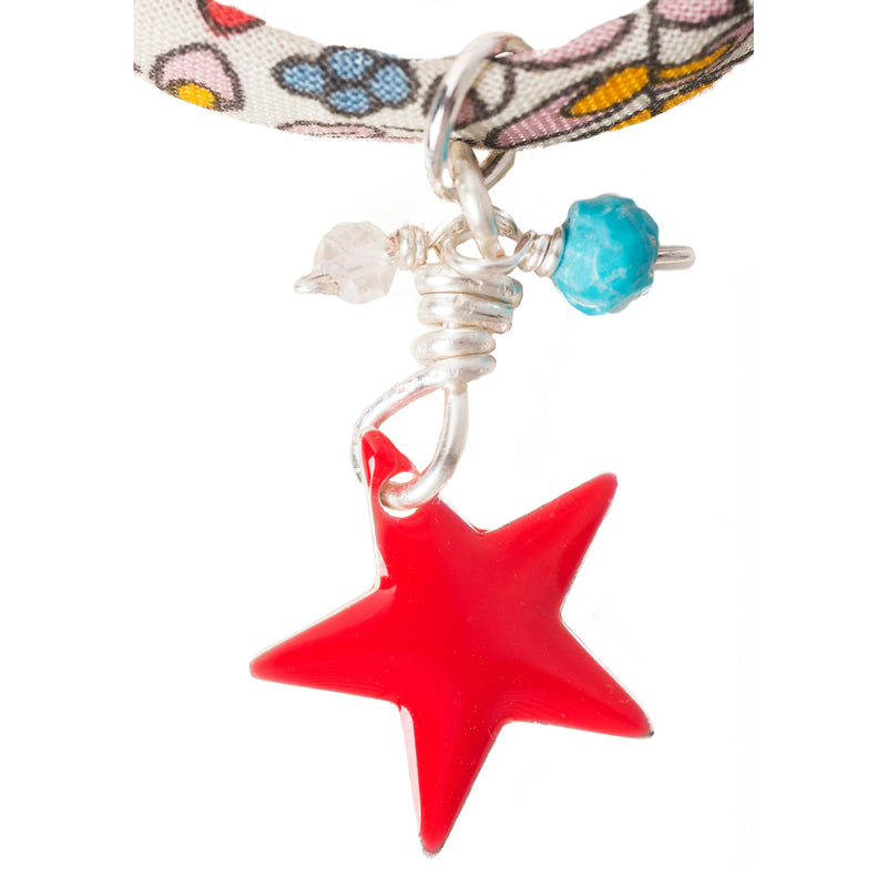 Liberty Print Red Star Charm Bracelet