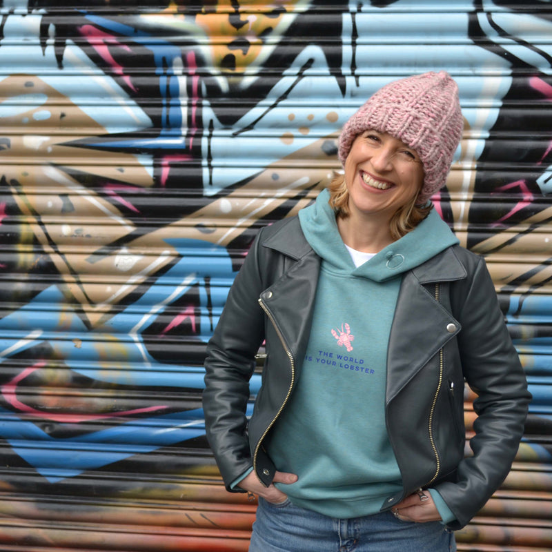 THE WORLD IS YOUR LOBSTER - 100% ORGANIC COTTON COSY AQUA HOODIE