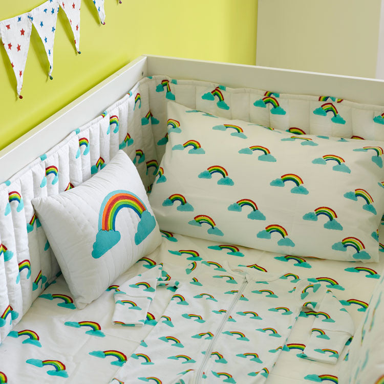 RAINBOW COT BED BUMPER