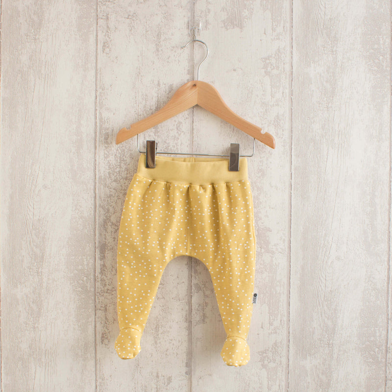 Baby Gold Dotted Footed Organic Leggings