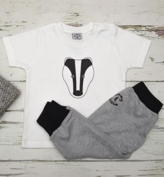 BADGER T SHIRT AND LEGGINGS SET: IN SHORT OR LONG SLEEVE