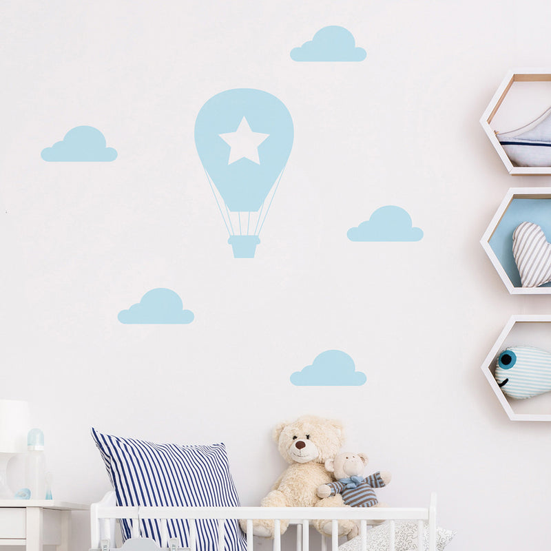 HOT AIR BALLOON AND CLOUDS WALL STICKER