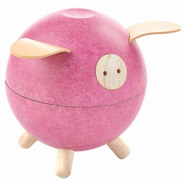Wooden Pink Piggy Bank
