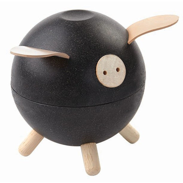 Wooden Piggy Bank Black
