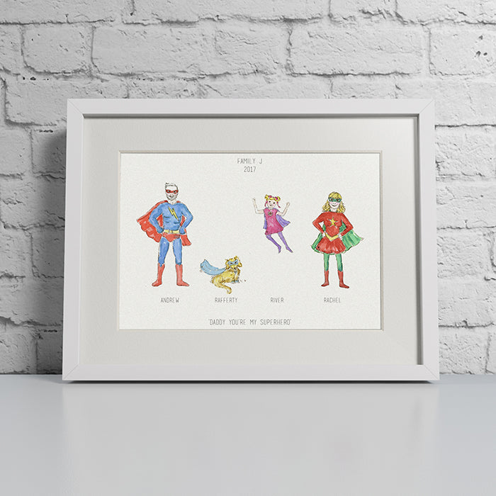 PERSONALISD SUPER HERO FAMILY PRINT