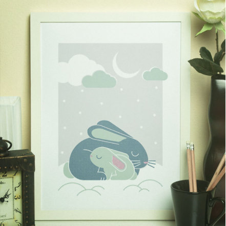 BUNNY RABBIT FAMILY - RETRO PRINT POSTER