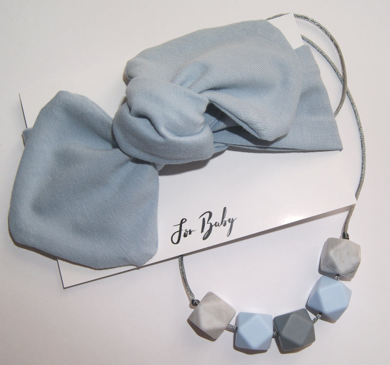 MUM AND BABY GIFT SET- TEETHING NECKLACE AND BOW, BLUE