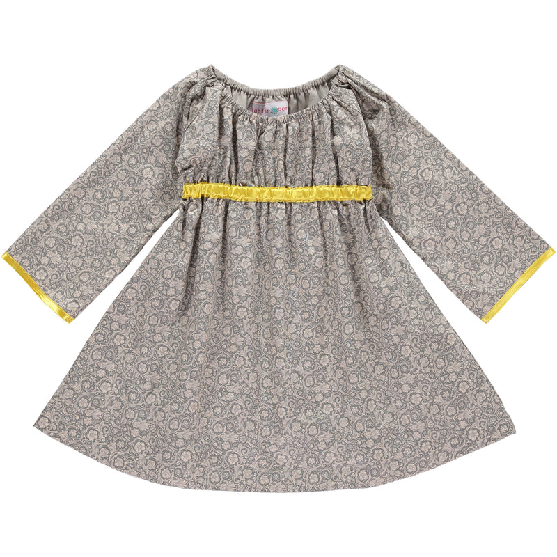 LONG SLEEVED EMPIRE LINE DRESS - GREY FLORAL AND YELLOW