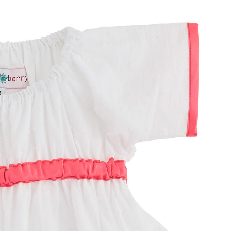 WHITE COTTON AND NEON PINK DRESS