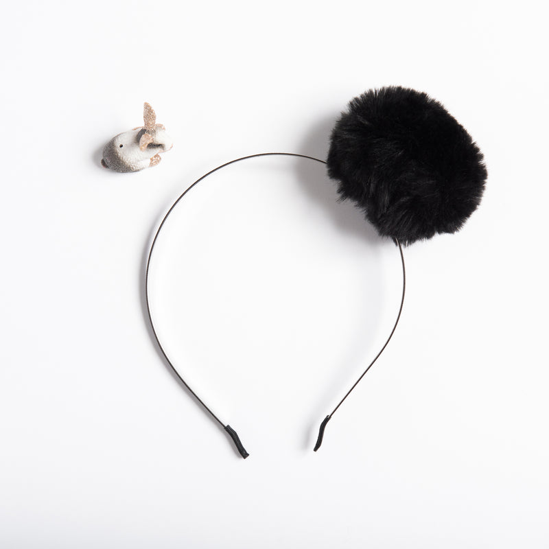 Black Pom Pom Headband - Faux Fur