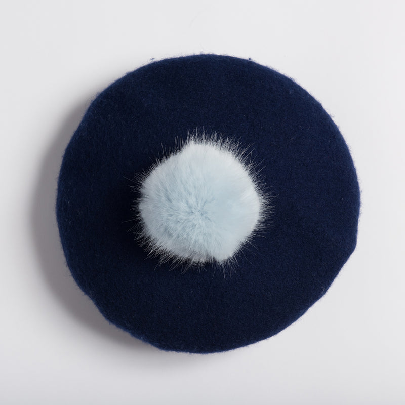 Personalised Navy Pompom Beret