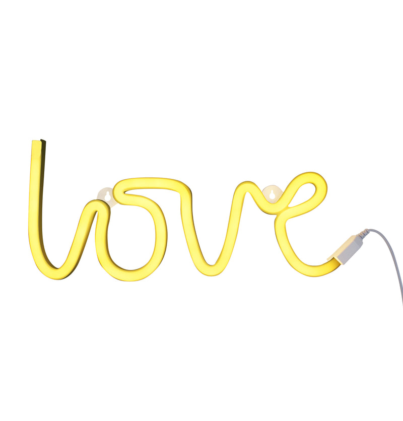 YELLOW NEON 'LOVE' SIGN