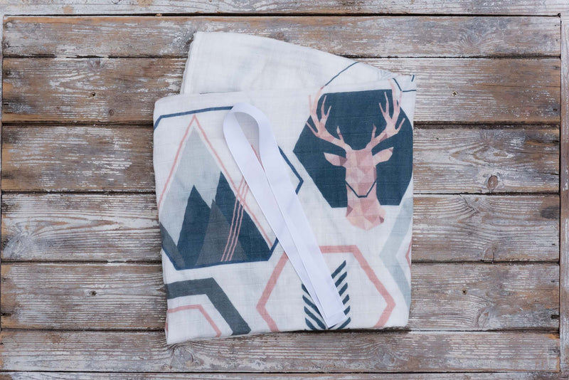 BABY MUSLIN - LUXURY LARGE & SILKY SOFT - STAG PRINT
