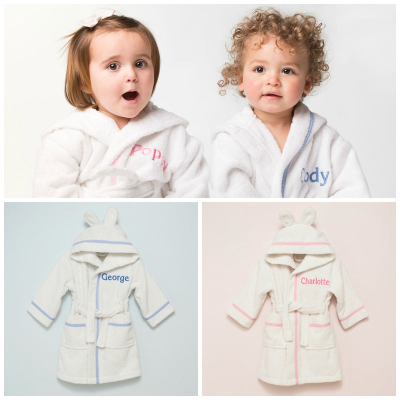 PERSONALISED WHITE BATHROBE WITH BLUE/PINK EMBROIDERY