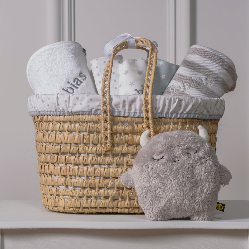 PERSONALISED GREY BABY GIFT BASKET - NOODOLL MONSTER