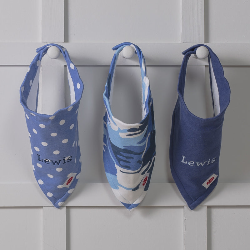 ZIPPY PERSONALISED 3 PACK ABSORBENT XL BANDANA BIBS IN BLUE AND PINK