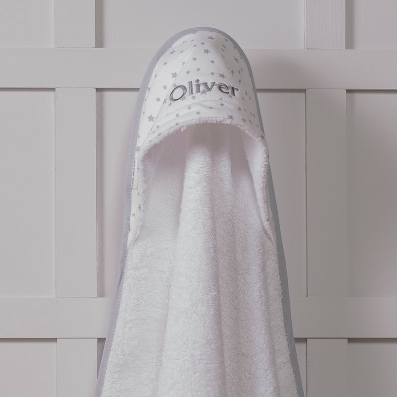 CLAIR DE LUNE PERSONALISED STAR HOODED TOWEL IN 3 COLOURS