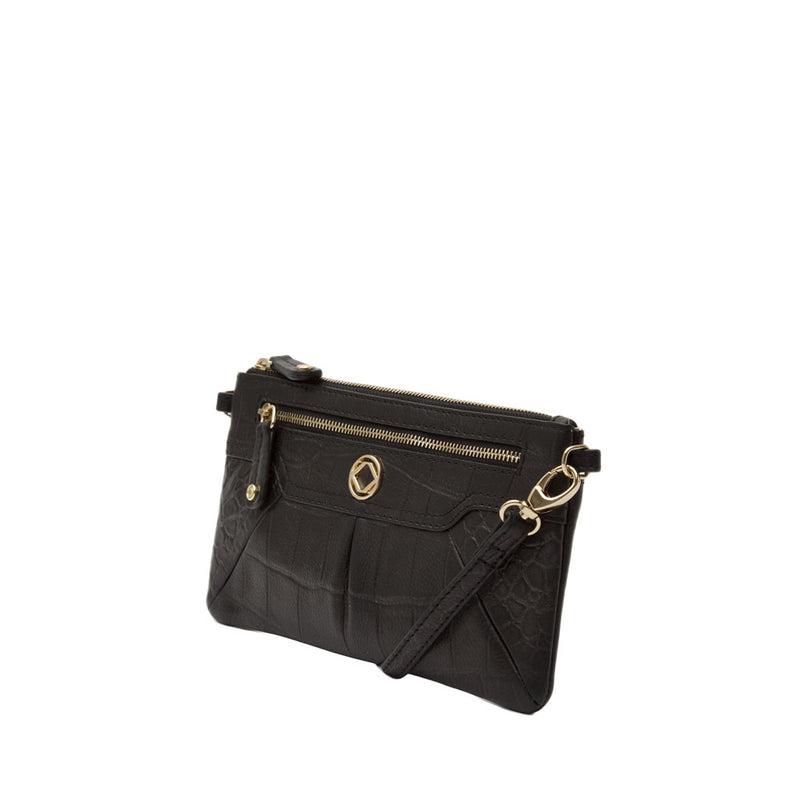 TEDDY BLACK LEATHER CROSS BODY CLUTCH