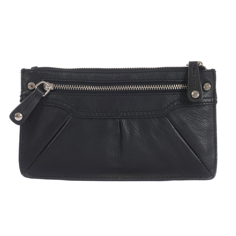 GEORGE BLACK LEATHER TRAVEL PURSE