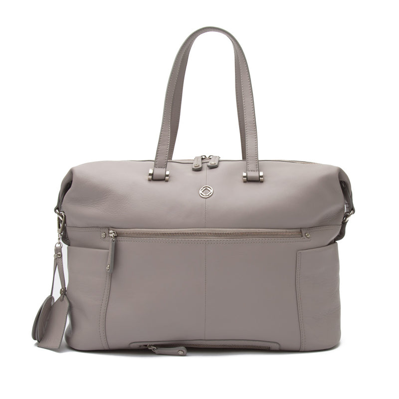 THEA GREY LEATHER TRAVEL CHANGING BAG