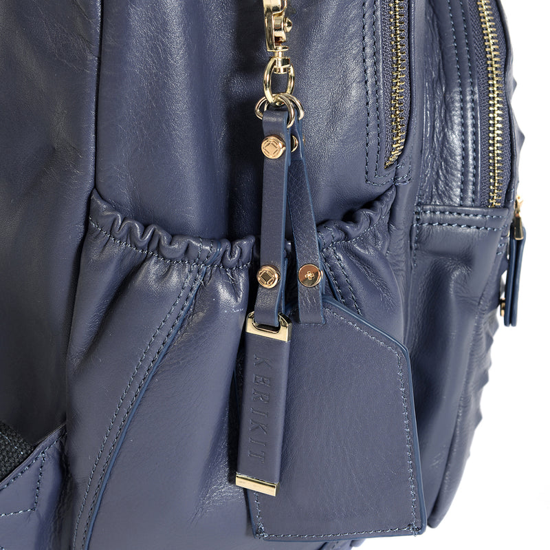 Joy Blue Steel Studded Leather Baby Changing Backpack