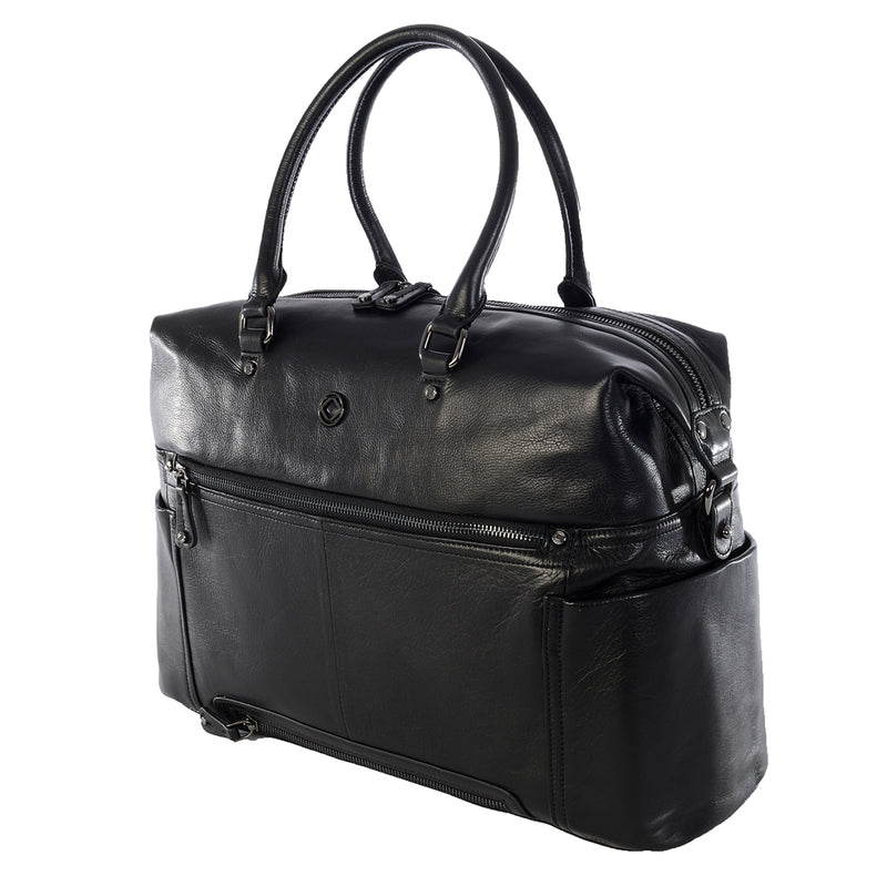 THEA BLACK LEATHER TRAVEL CHANGING BAG