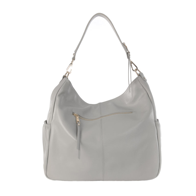 LENNOX ICE GREY LEATHER CHANGING BAG