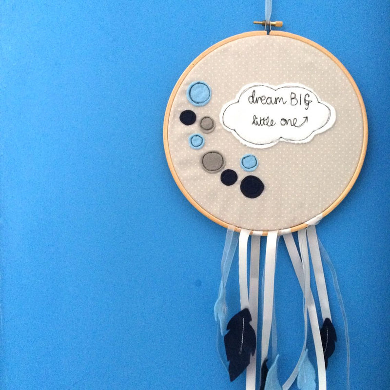 DREAM BIG LITTLE ONE FREEHAND EMBROIDERED DREAM CATCHER