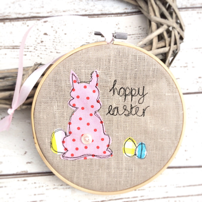 HOPPY EASTER FREEHAND EMBROIDERED DECORATIVE HOOP