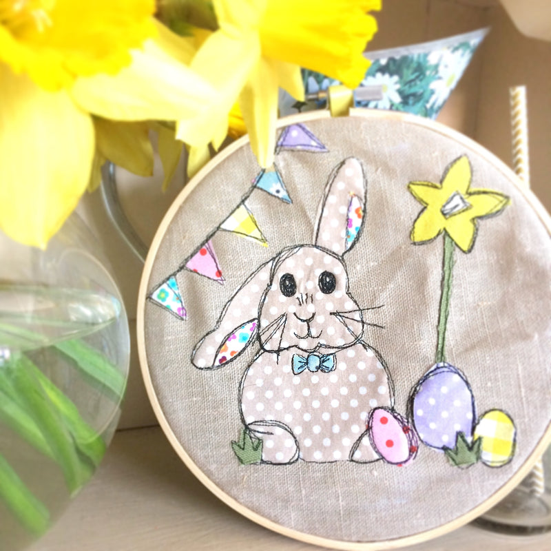 EASTER BUNNY FREEHAND EMBROIDERED DECORATIVE HOOP