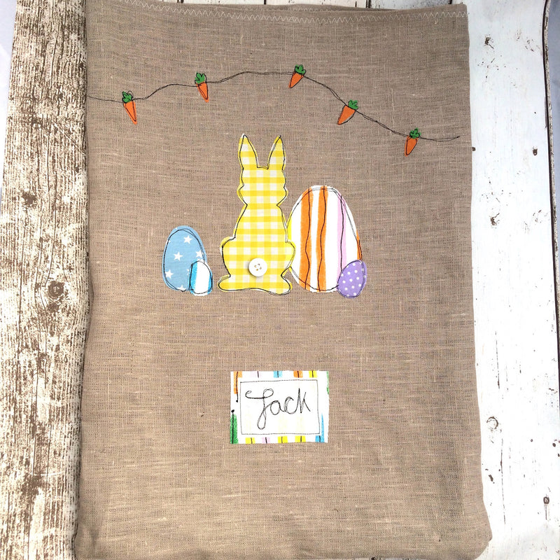 EASTER BUNNY FREEHAND EMBROIDERED EGG HUNT SACK