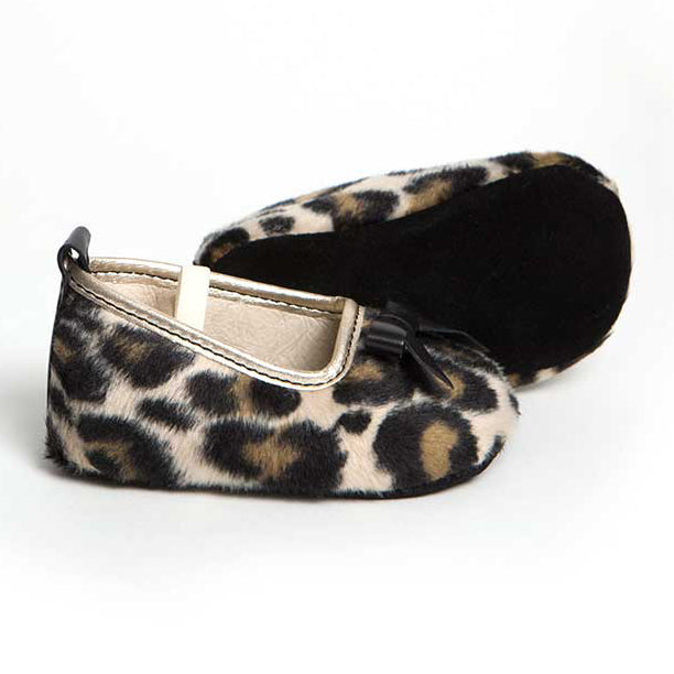 GRACE LEOPARD FUR FABRIC SLIPPER SOFT SOLE SHOES FOR BABIES WITH LEATHER TRIM