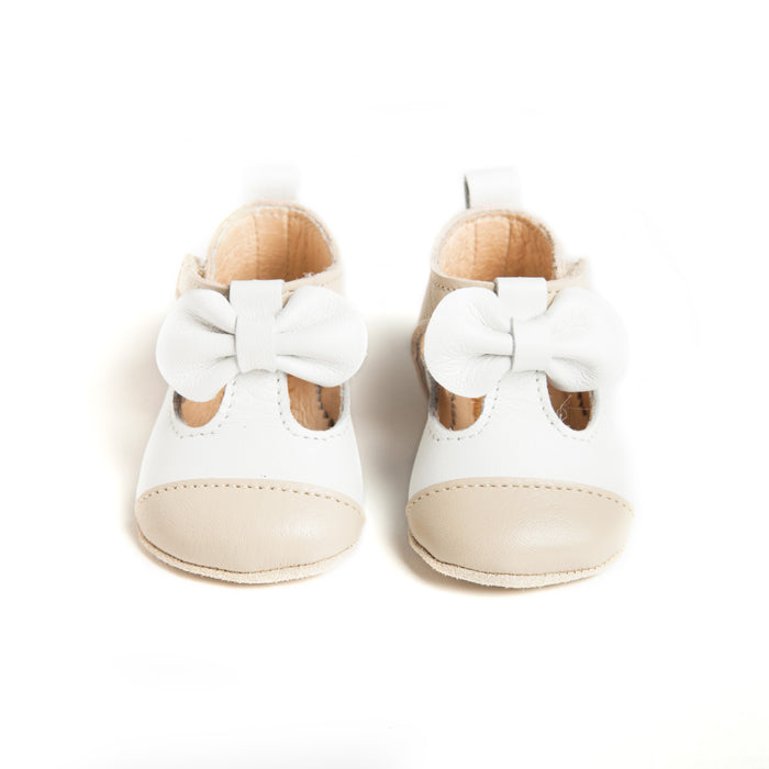 MATILDA SOFT SOLE LEATHER T-BAR SHOES WITH BOW DETAIL