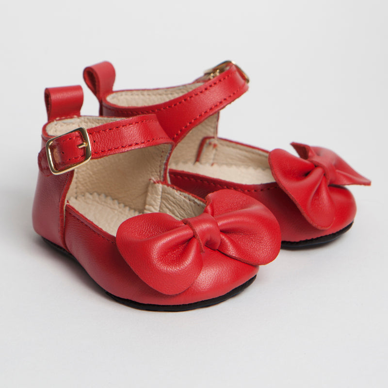 CHARLOTTE: SOFT SOLE OCCASION BABY SHOES IN LEATHER WITH BOW DETAIL
