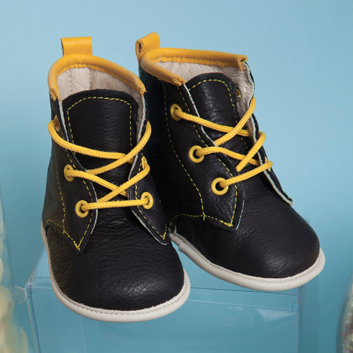 Oscar Tall leather lace up boots for babies with soft soles.