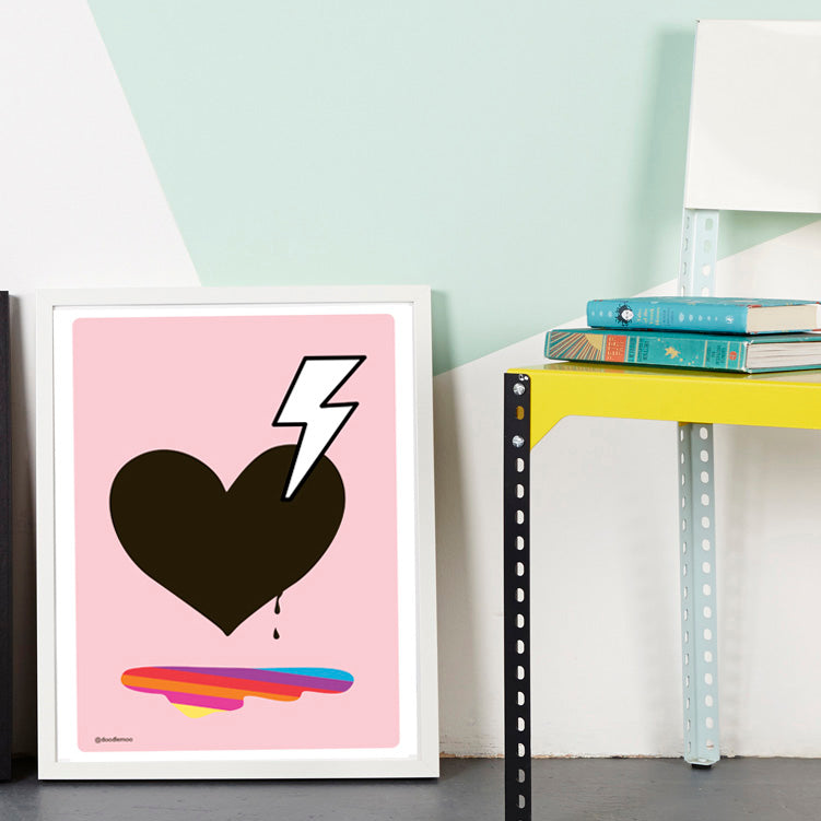 HEART AND BOLT PRINT; LOVE STRUCK BY DOODLEMOO