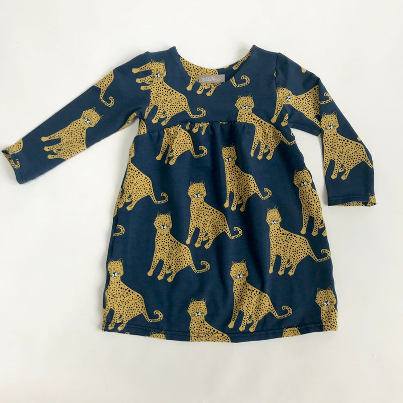 "Eddie & Bee organic cotton long sleeved dress in Navy ""Happy Leopards"" print"