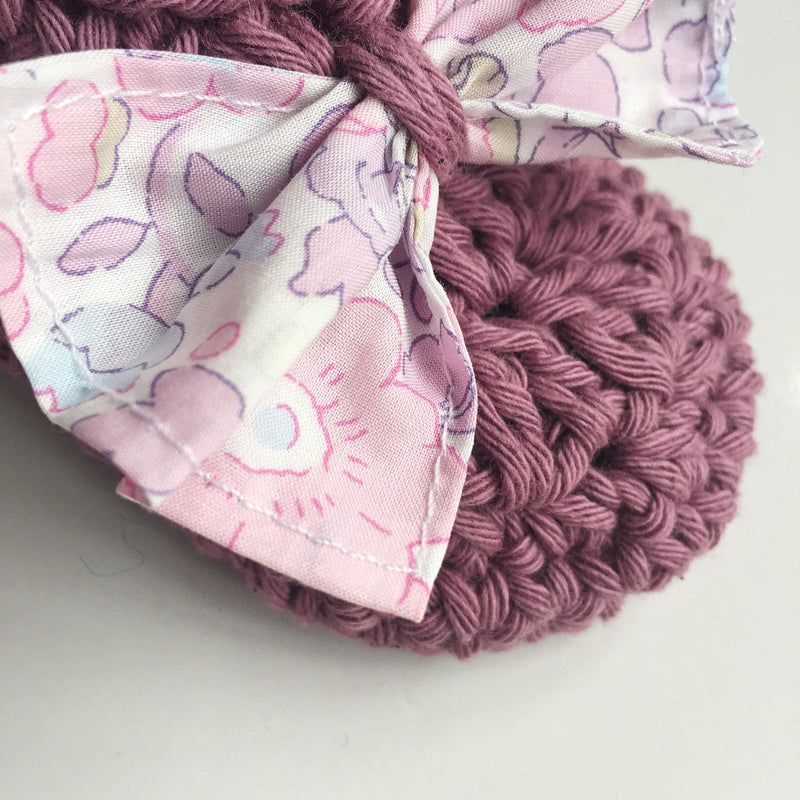 Liberty cotton bow pram shoes