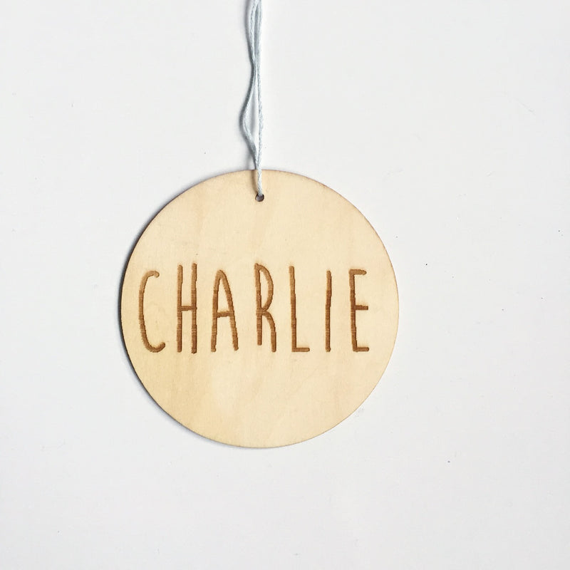 Small circular name hanging