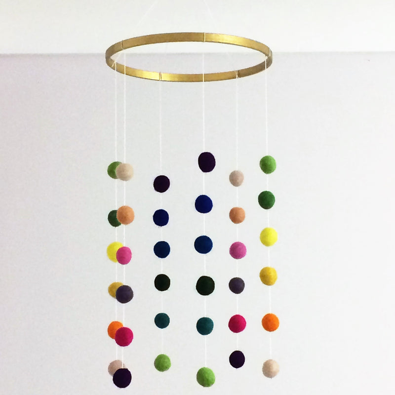 FELT BALL COT MOBILE - MULTI COLOURED