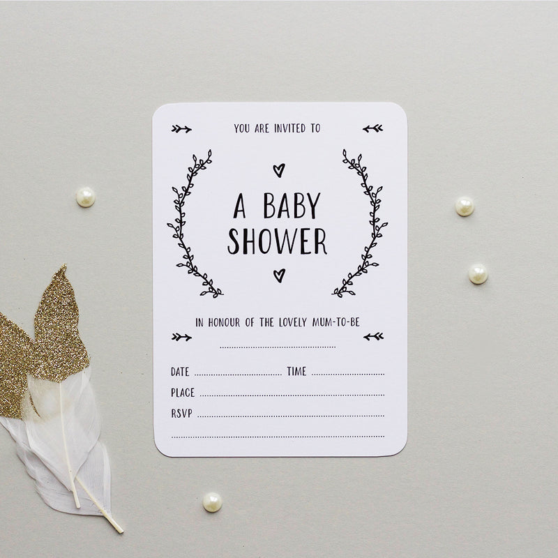 BABY SHOWER INVITATIONS - MONOCHROME