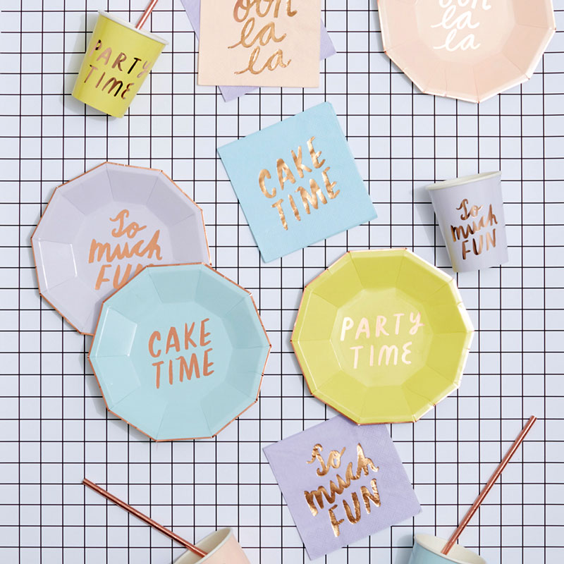 ROSE GOLD AND PASTEL PARTY PLATES