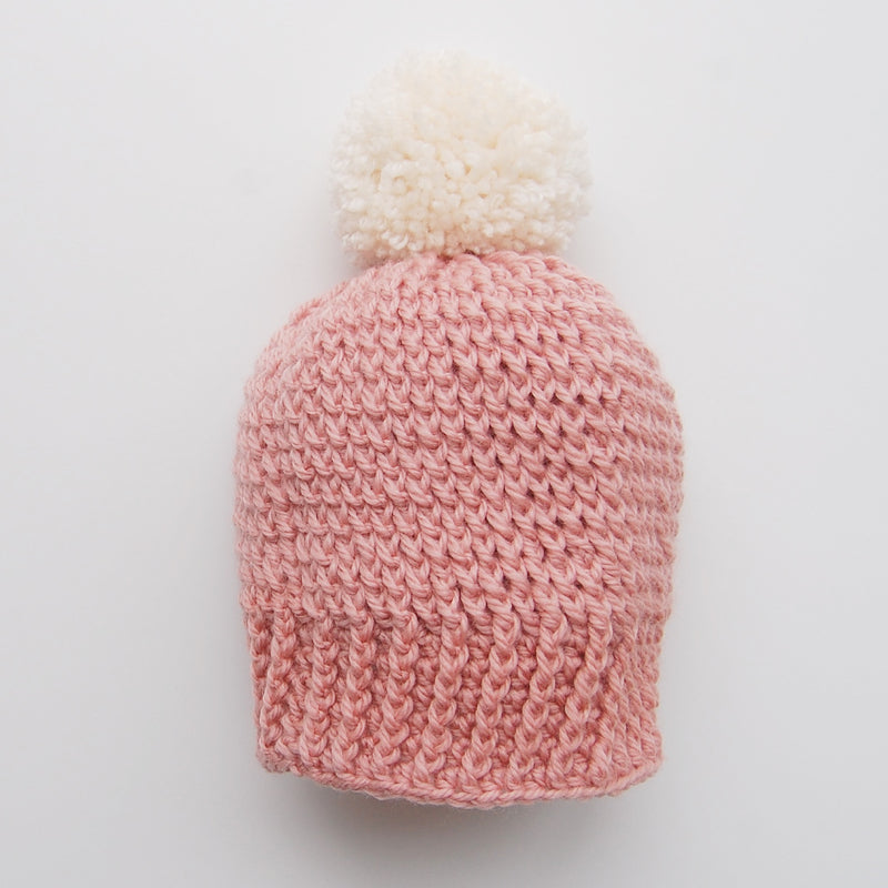 PINK BOBBLE HAT WITH POM POM
