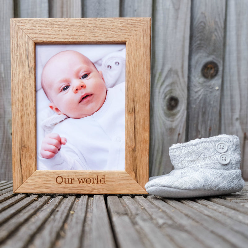 PERSONALISED ENGRAVED SOLID OAK PHOTO FRAME