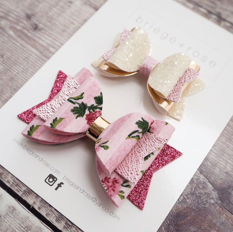 SUMMER TEA PARTY PINK HAIR BOW SET