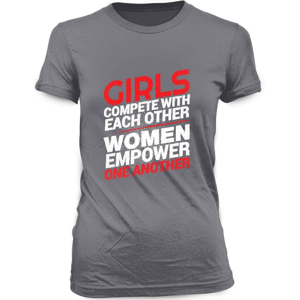 Girls Compete Women Empower T-shirt - Black Butterfly Beautiful