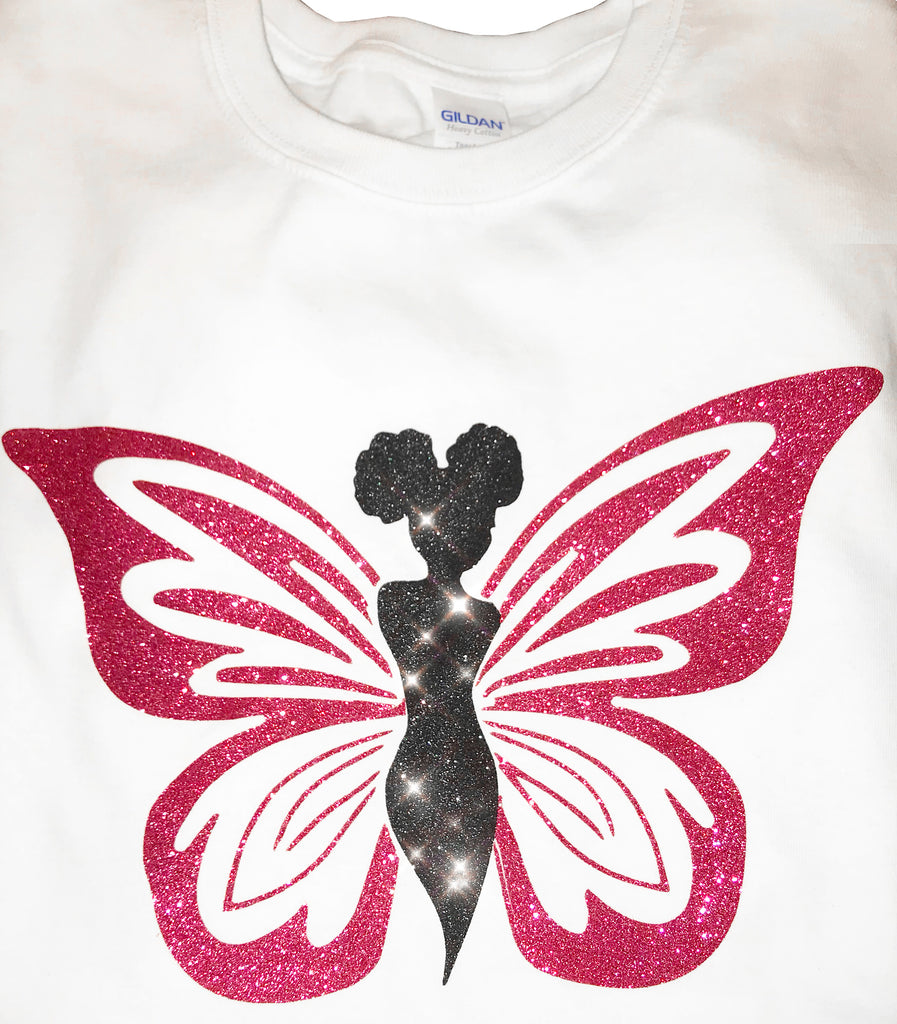 Glittered Black Butterfly Signature  Shirt